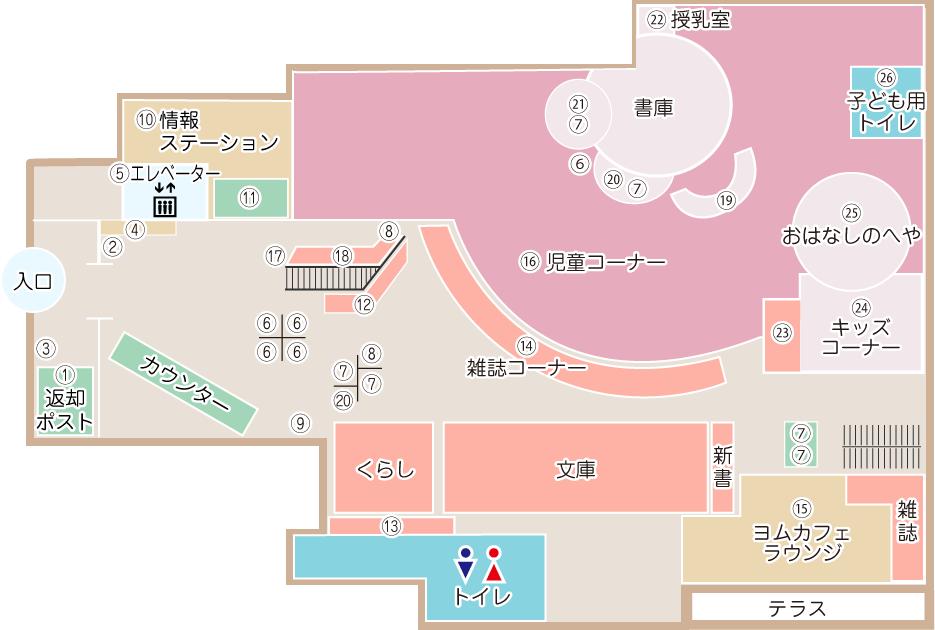 土浦市立図書館(アルカス土浦内)2階案内図