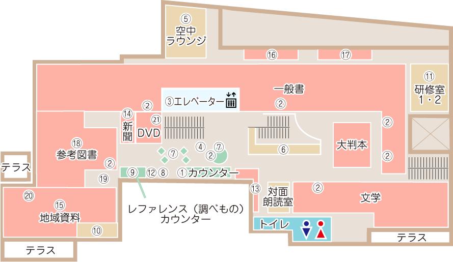 土浦市立図書館(アルカス土浦内)3階案内図